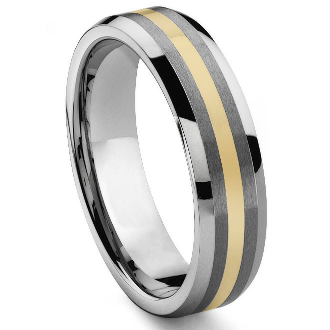 REGAL 6MM Tungsten Carbide 14K Gold Inlay Wedding Band