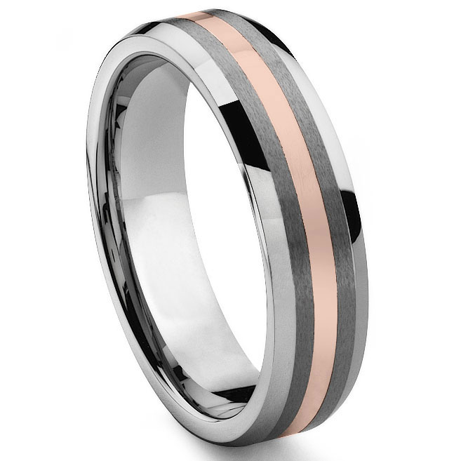 TUSCANO 6MM Tungsten Carbide 14K Rose Gold Inlay Wedding Band