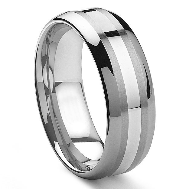 pantere 8mm tungsten carbide 14k white gold inlay wedding band - Tungsten Mens Wedding Rings