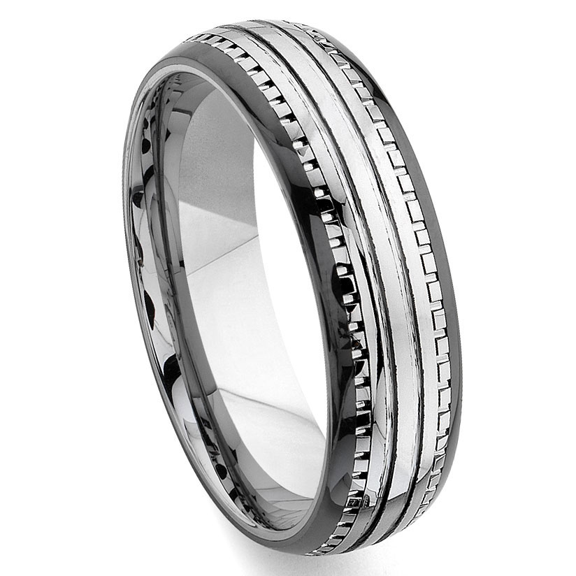 2nd Generation Tungsten Carbide Two Tone Dome Milgrain Wedding Band Ring