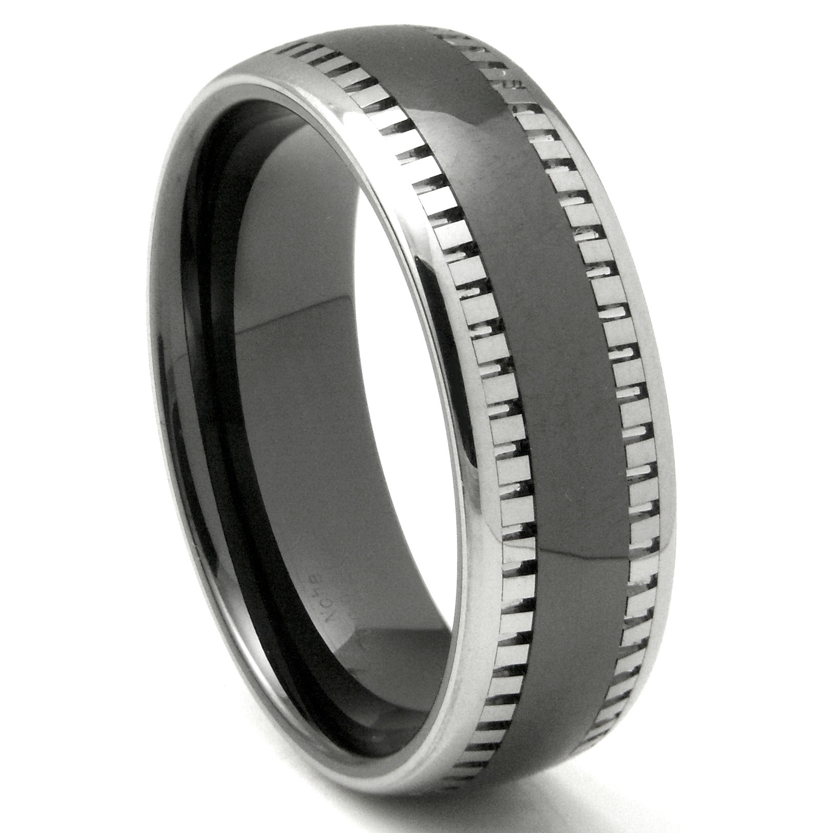 's Tungsten Wedding Rings | 2nd Generation Tungsten Carbide Two Tone Milgrain Dome Wedding