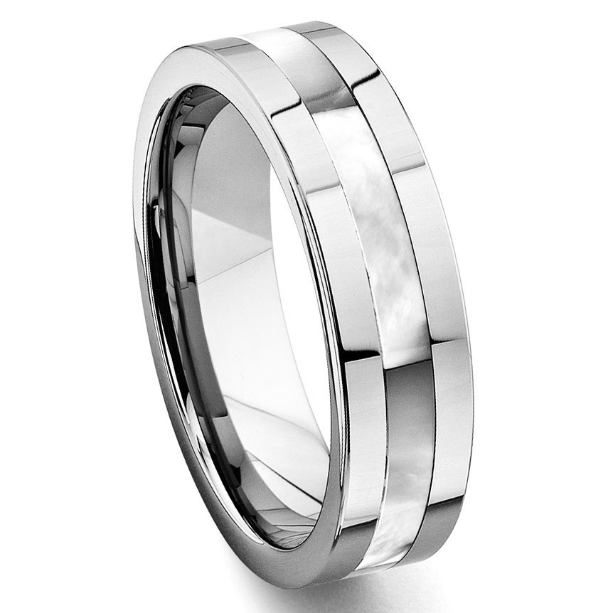 Loading zoomTungsten Carbide Mother of Pearl Inlay Wedding Band Ring. Inlay Wedding Bands. Home Design Ideas