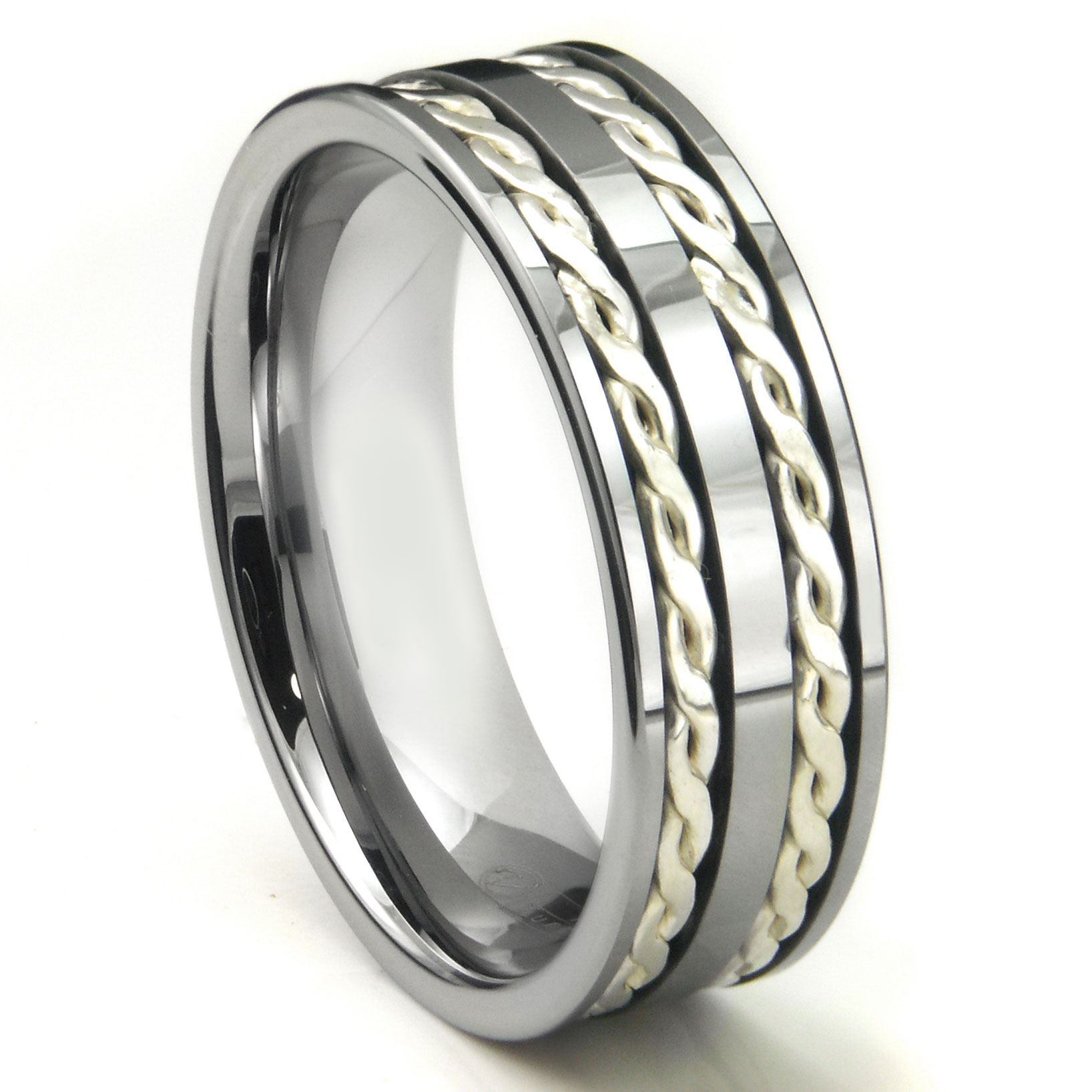 tungsten carbide silver rope wedding band ring. Black Bedroom Furniture Sets. Home Design Ideas