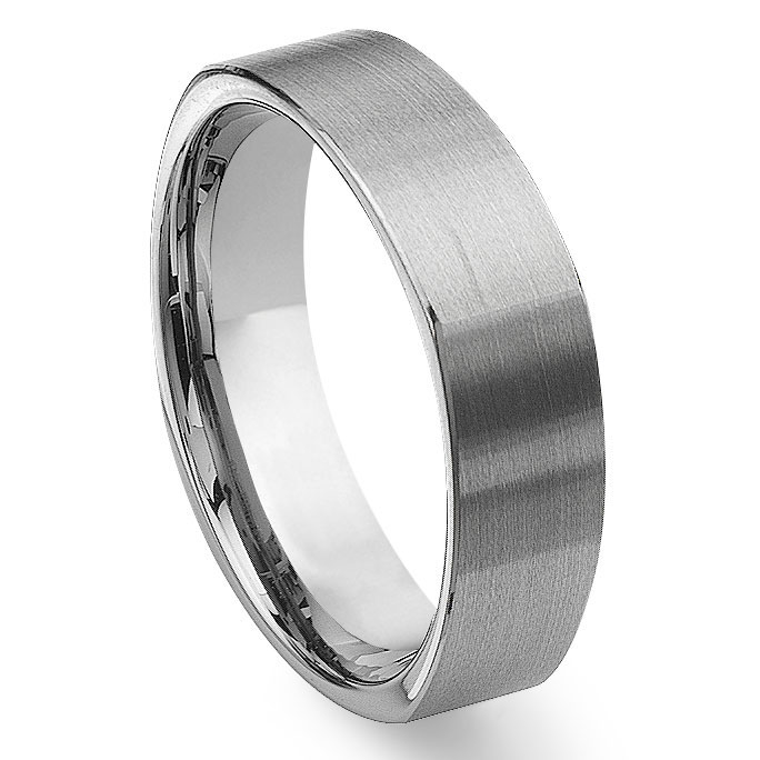 Tungsten Carbide Square Wedding Band Ring