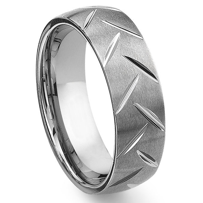Tungsten Carbide Diamond Cut Groove Wedding Band Ring