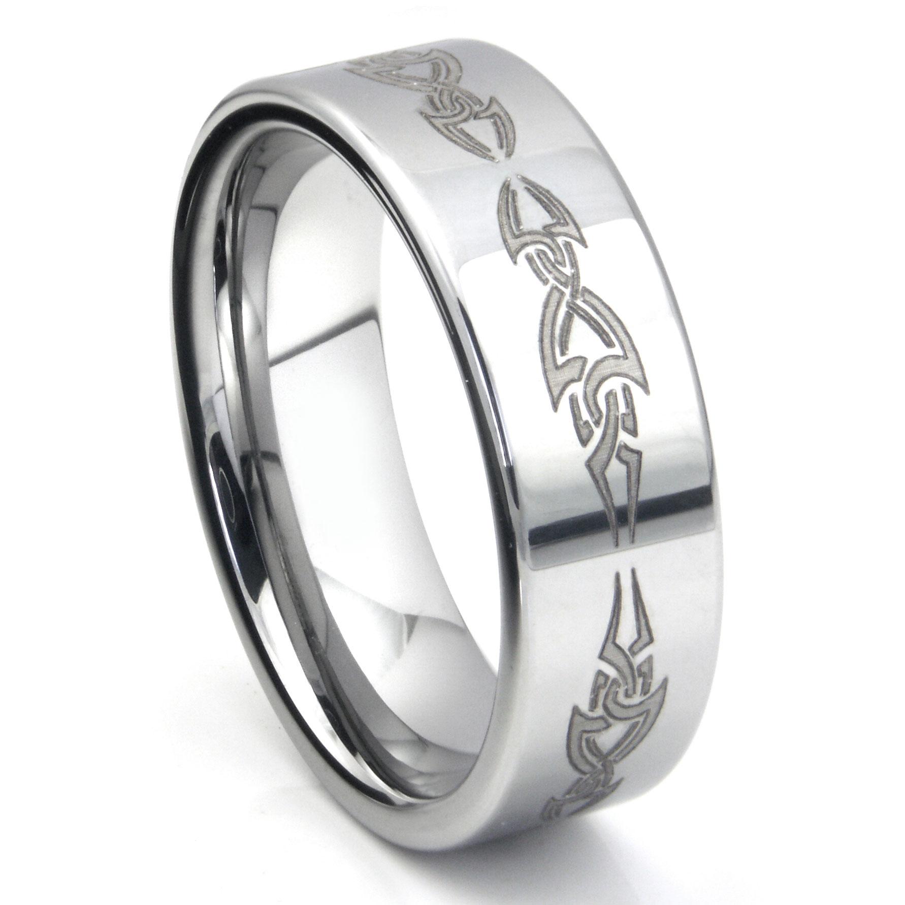 tungsten carbide laser engraved tribal wedding band ring