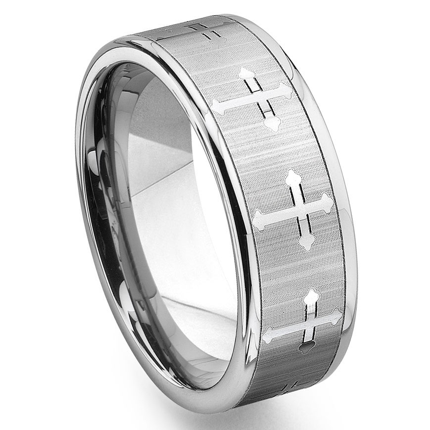 Tungsten Carbide Men's Wedding Band Ring with Cross Design