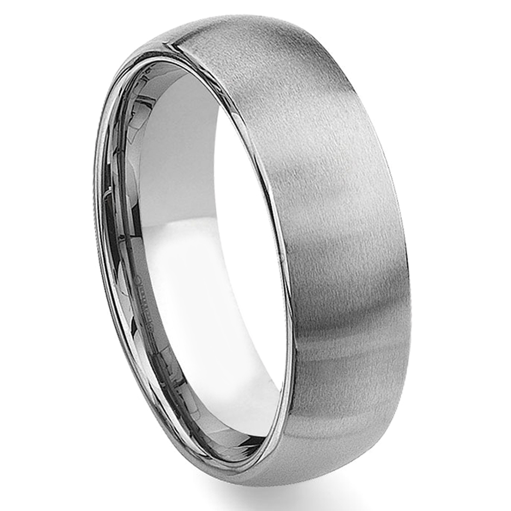 tungsten carbide 8mm brushed dome wedding band ring - Tungsten Carbide Wedding Rings