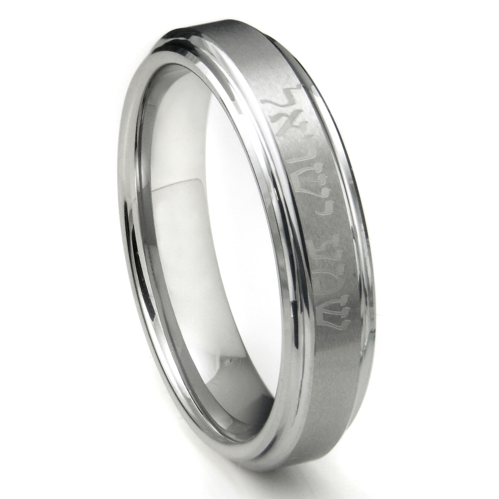 tungsten carbide laser engraved hebrew wedding band ring