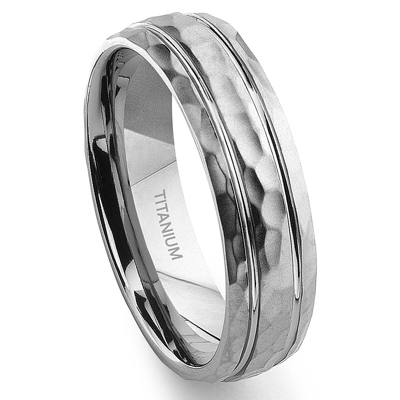 titanium hammer finish groove wedding band ring