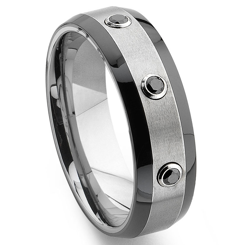 tungsten carbide black diamond two tone wedding band ring