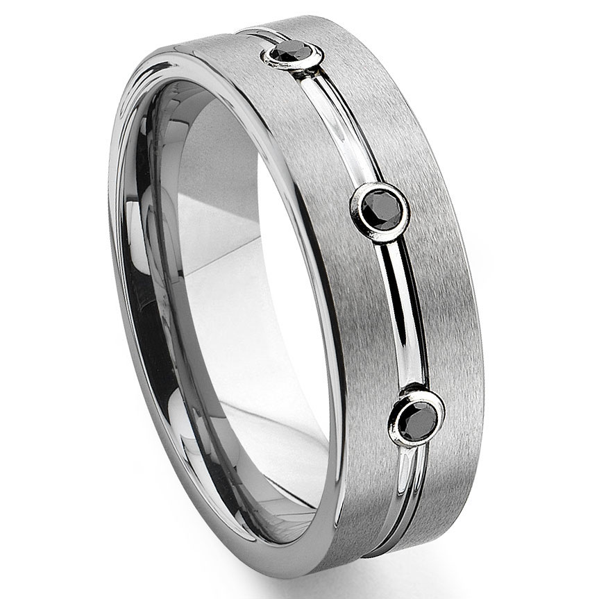 chevron wedding carbide band tungsten diamond ring black