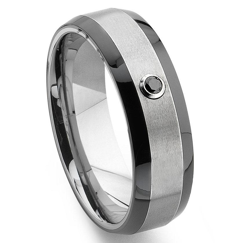 Tungsten Diamond Wedding Bands For Men Titanium Kay
