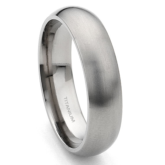 Titanium 9mm Dome Wedding Band Ring