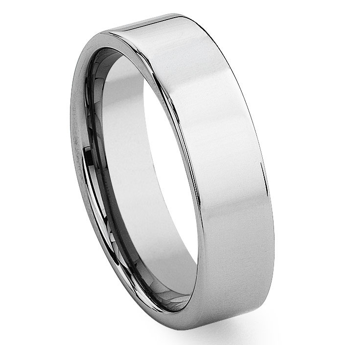 Tungsten Carbide Triangle Trillion Wedding Band Ring
