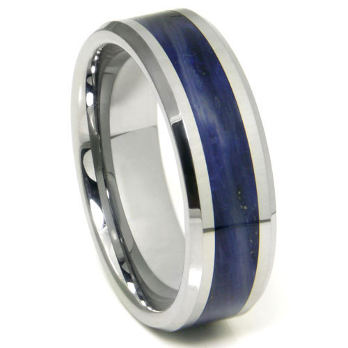 Tungsten Carbide Royal Blue Riverstone Inlay Wedding Band Ring