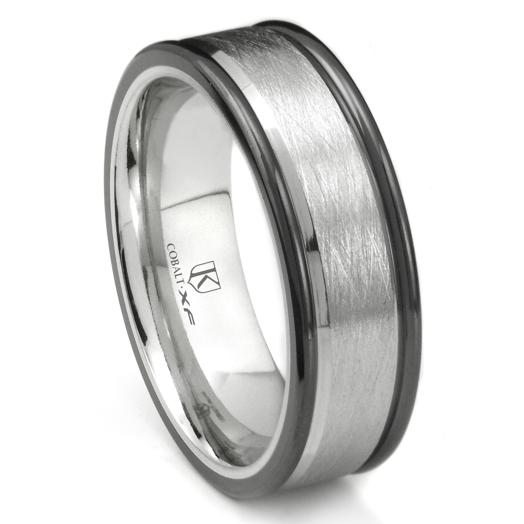 black chrome cobalt plated rings diamond home wedding loading ring band zoom