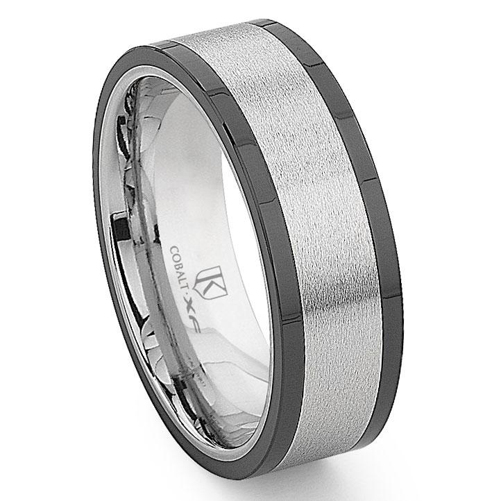 Cobalt XF Chrome 8MM Matte Finish Two Tone Flat Wedding Band Ring