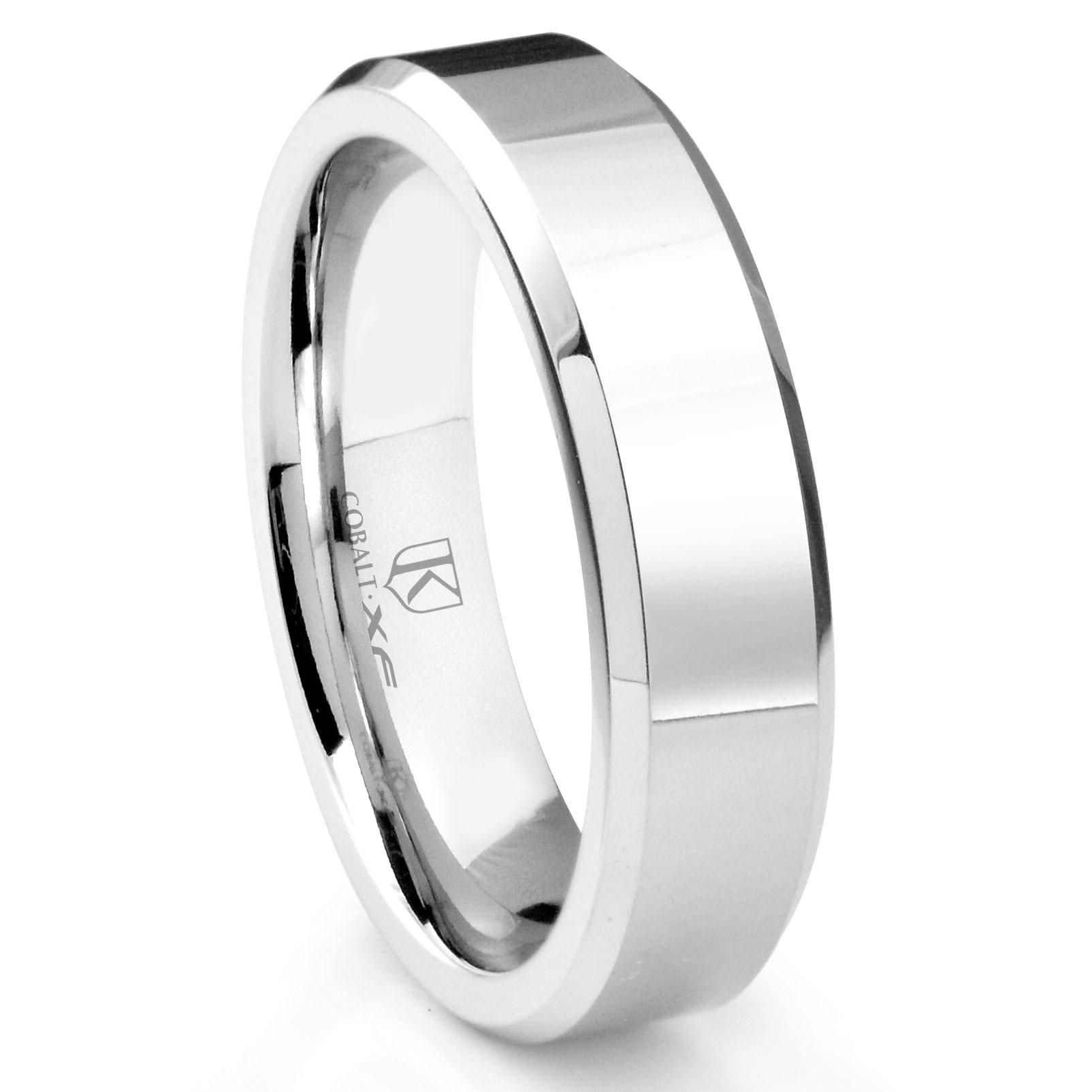 Cobalt Xf Chrome 6mm High Polish Beveled Wedding Band Ring