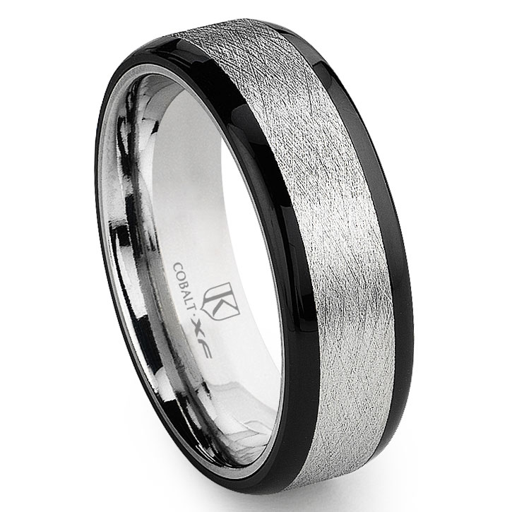 Cobalt Xf Chrome 8mm Italian Di Seta Finish Two Tone Flat Wedding Band Ring W Rounded Edges