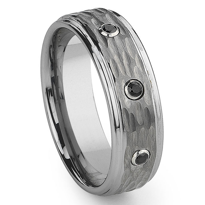 tungsten carbide black diamond hammer finish wedding band ring. Black Bedroom Furniture Sets. Home Design Ideas