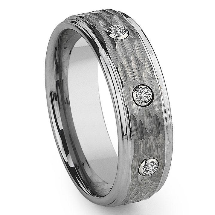 Tungsten Carbide Diamond Hammer Finish Wedding Band Ring