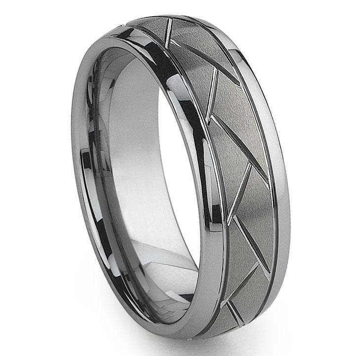 Tungsten Carbide Diamond Cut Groove Newport Wedding Band Ring
