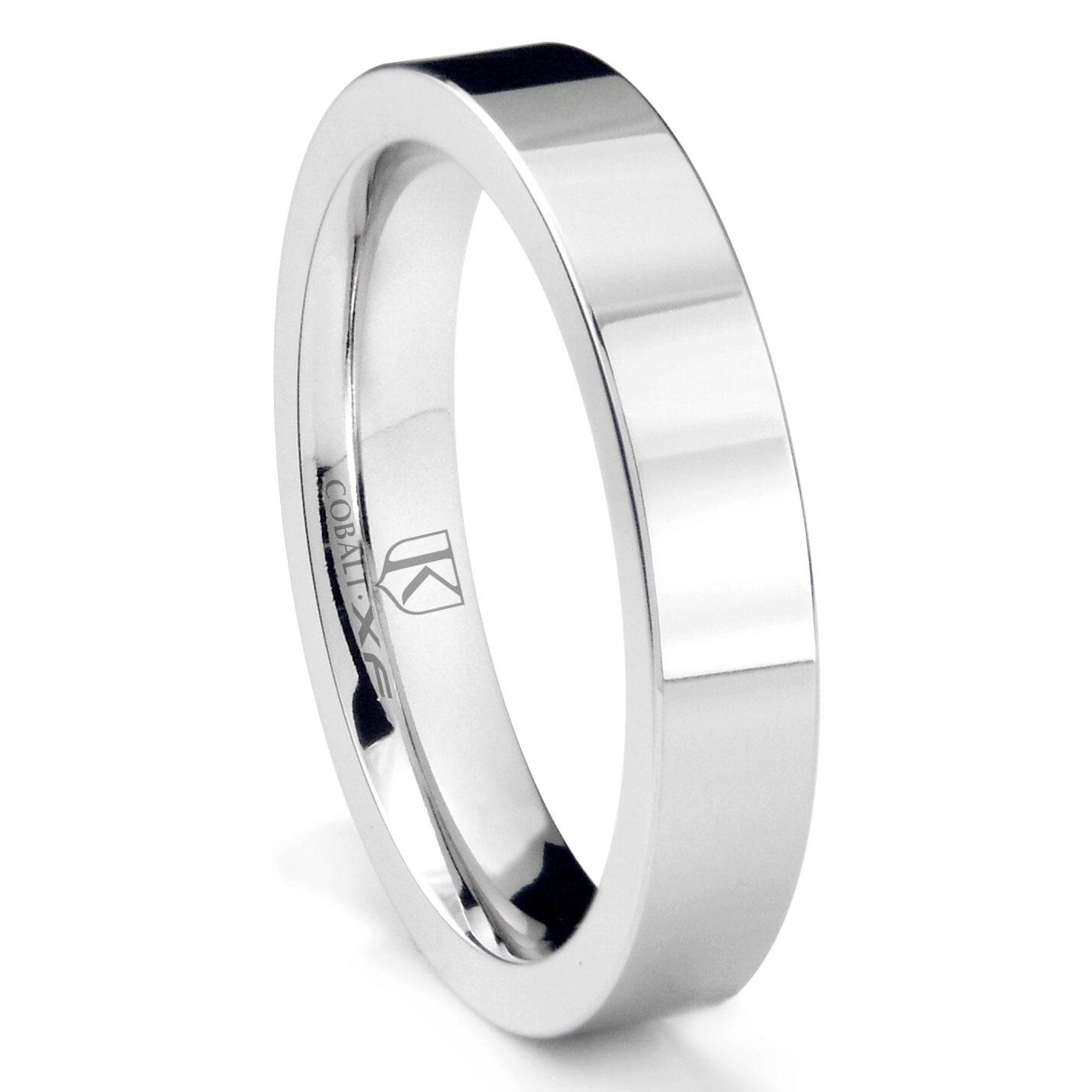 Cobalt XF Chrome 4MM Flat Wedding Band Ring