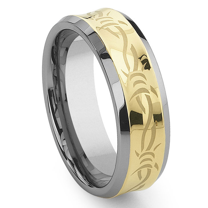 Wire Bands: Concave Gold Barb Wire Tungsten Carbide Wedding Band Ring