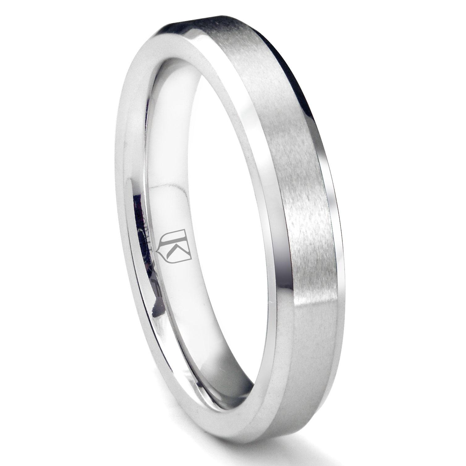 Cobalt Xf Chrome 4mm Brush Center Beveled Wedding Band Ring