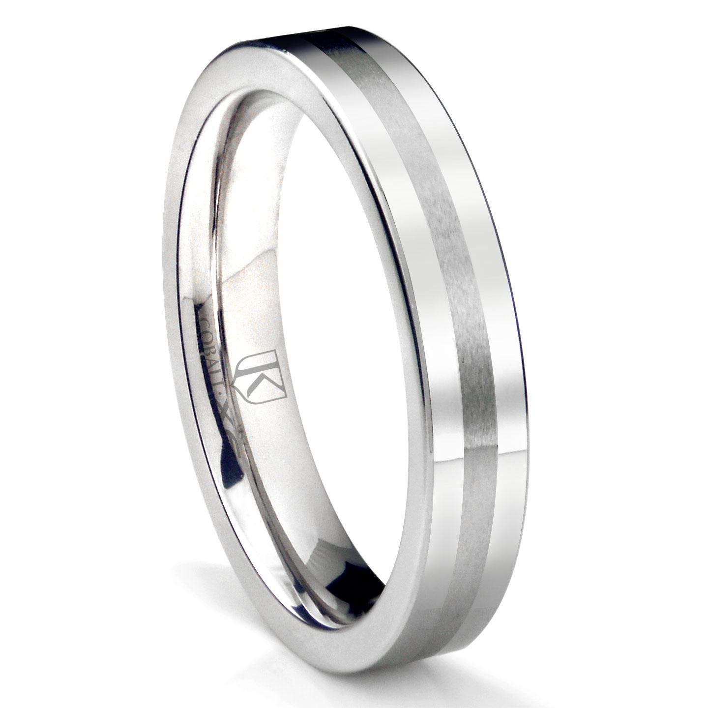 Cobalt XF Chrome 4MM Flat Wedding Band Ring W Brush Center