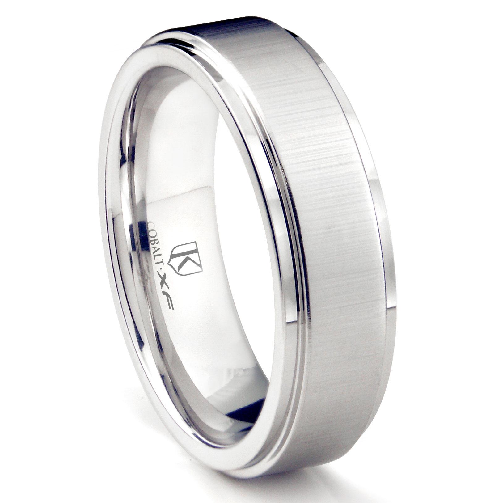 Cobalt XF Chrome 8MM Satin Finish Wedding Band Ring W Raised Center