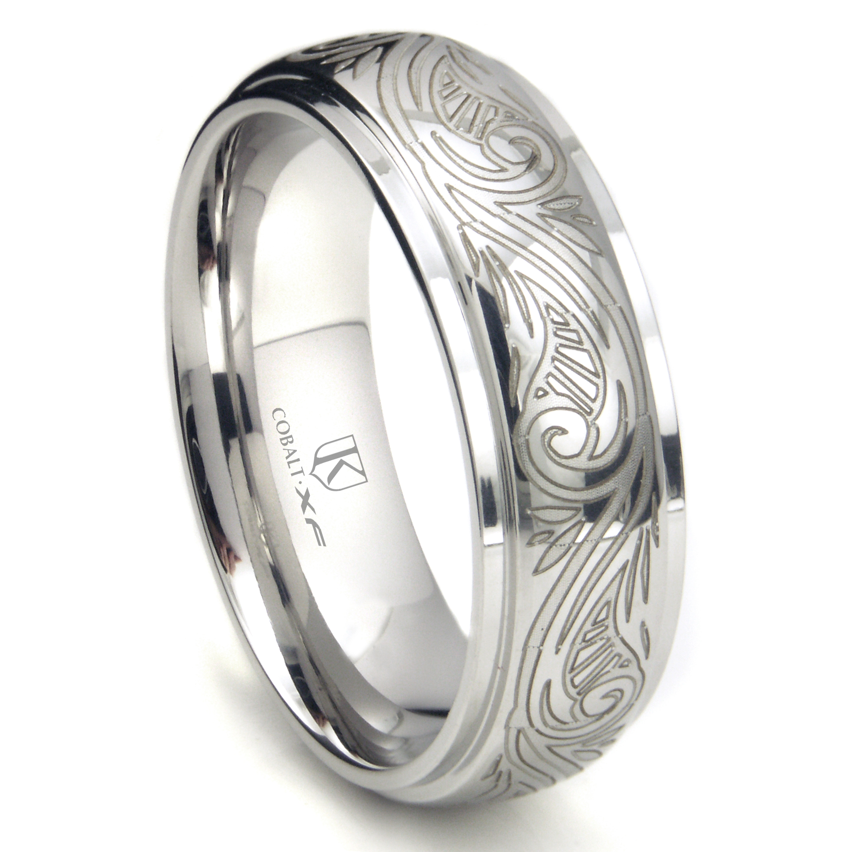 Cobalt XF Chrome 8MM Laser Engraved Paisley Motif Dome Wedding