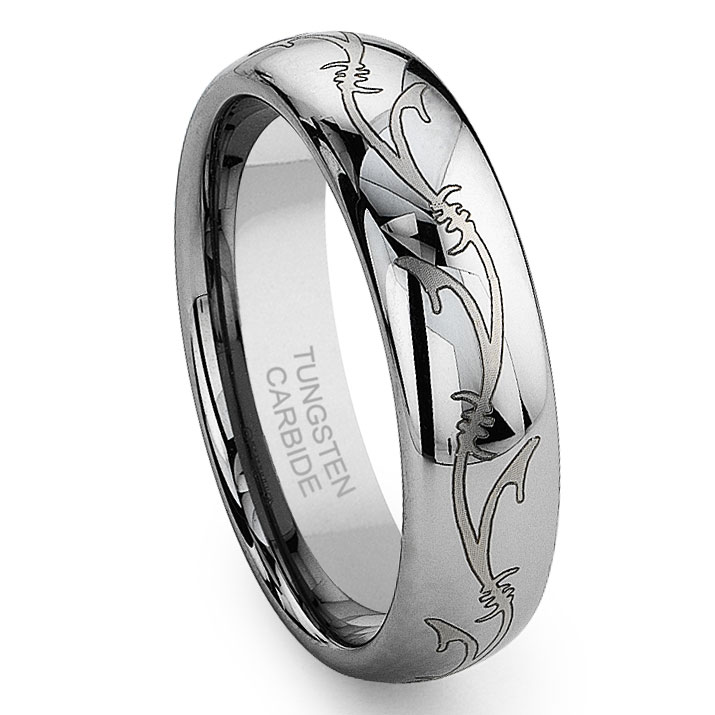 Tungsten carbide laser engraved vine celtic irish wedding for Tungsten celtic wedding ring