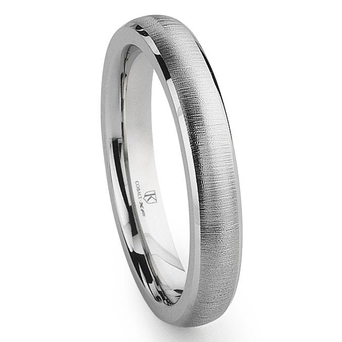 Cobalt XF Chrome 4MM Satin Finish Beveled Wedding Band Ring