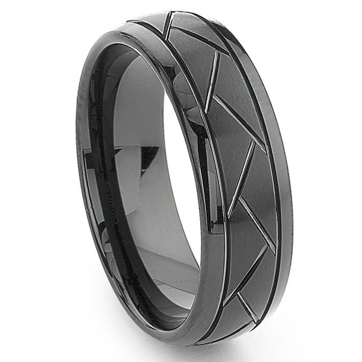 black tungsten carbide 8mm diamond cut dome wedding band ring. Black Bedroom Furniture Sets. Home Design Ideas