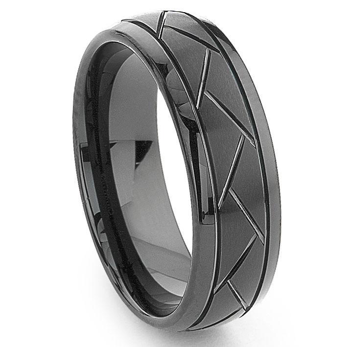 Black Tungsten Carbide 8mm Diamond Cut Dome Wedding Band Ring
