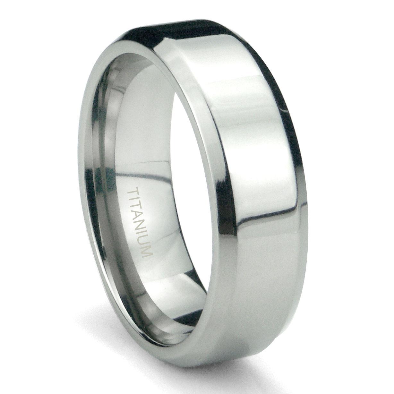 Titanium 6mm High Polish Beveled Wedding Band Ring