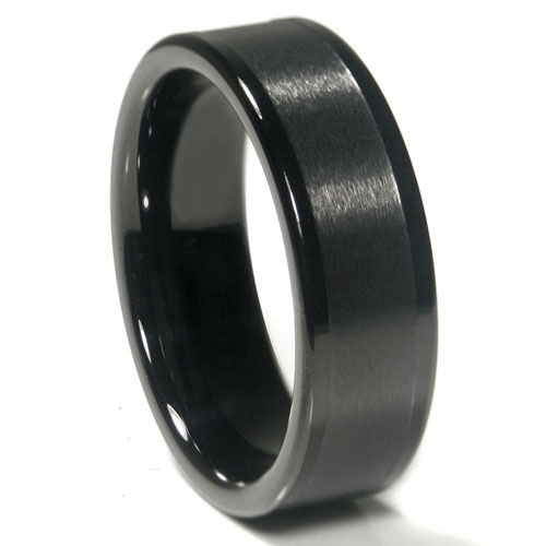 black tungsten carbide 8mm flat wedding band ring. Black Bedroom Furniture Sets. Home Design Ideas