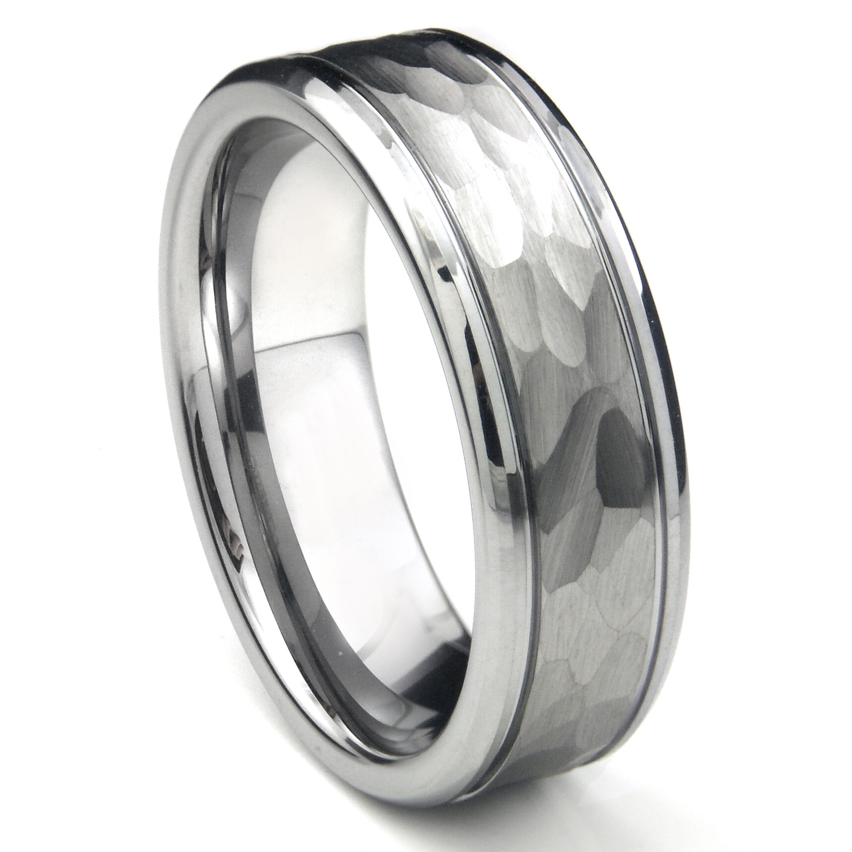 tungsten carbide hammer finish wedding band ring w grooves. Black Bedroom Furniture Sets. Home Design Ideas