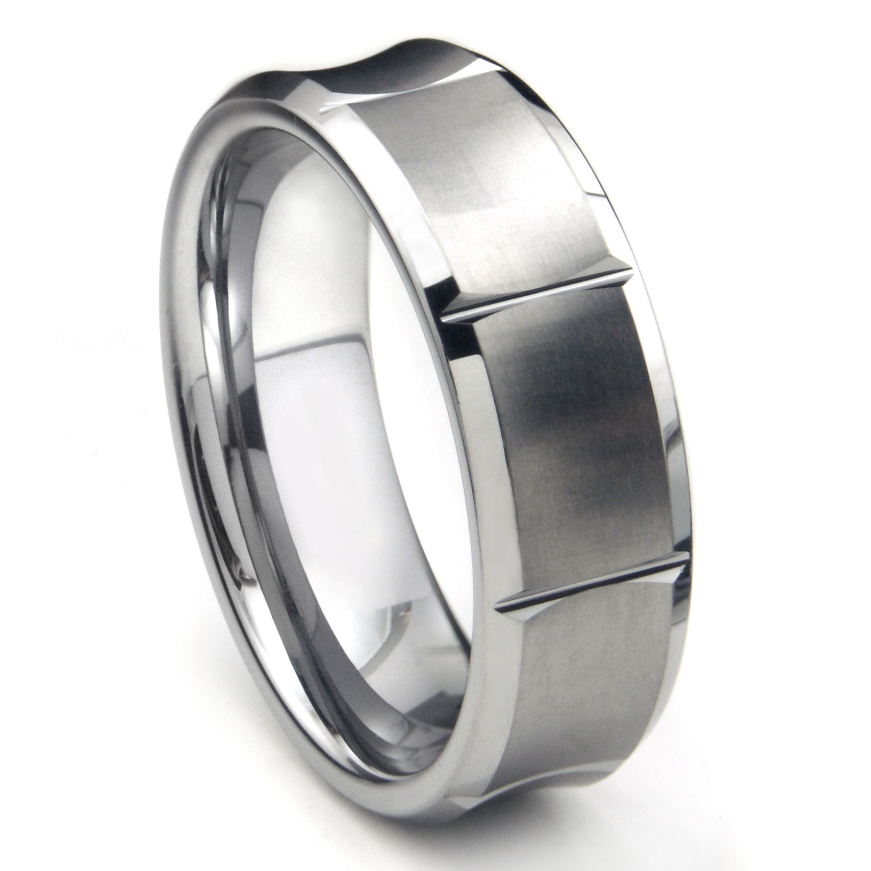 tungsten carbide concave wedding band ring w/ horizontal grooves
