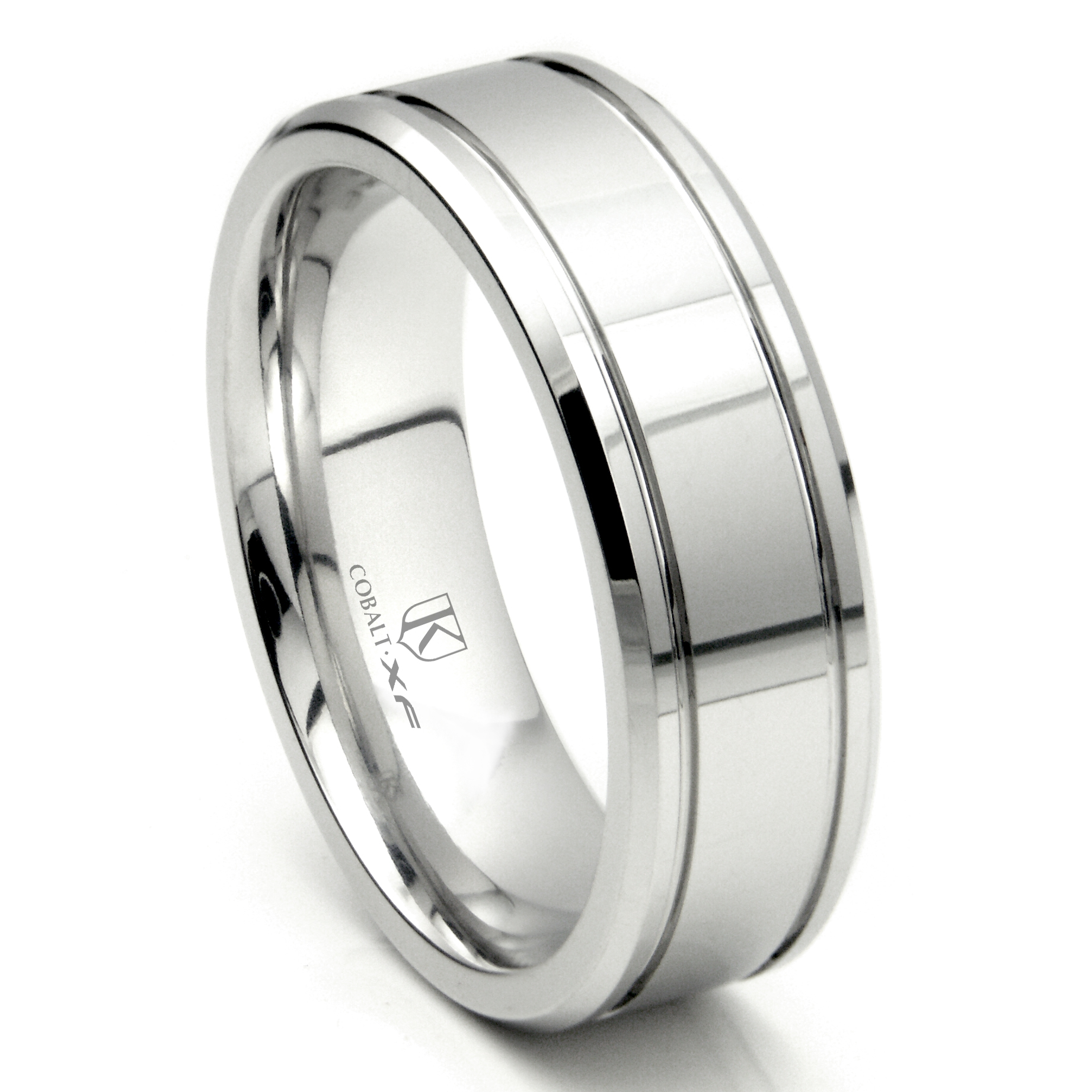 cobalt xf chrome 8mm double groove high polish wedding band ring - Cobalt Wedding Rings