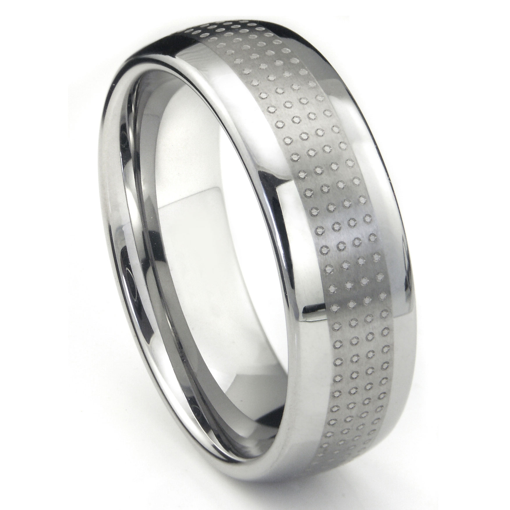 tungsten carbide polka wedding band ring. Black Bedroom Furniture Sets. Home Design Ideas