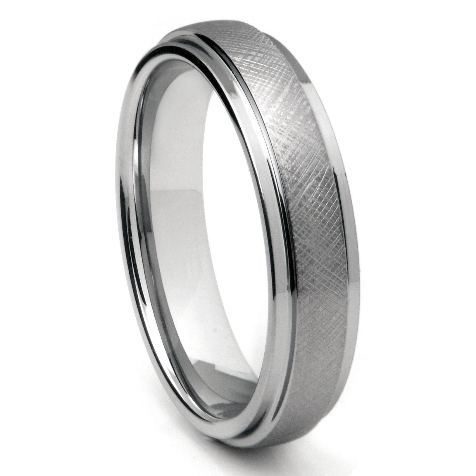 Tungsten Carbide 6MM Mesh Finish Wedding Band Ring