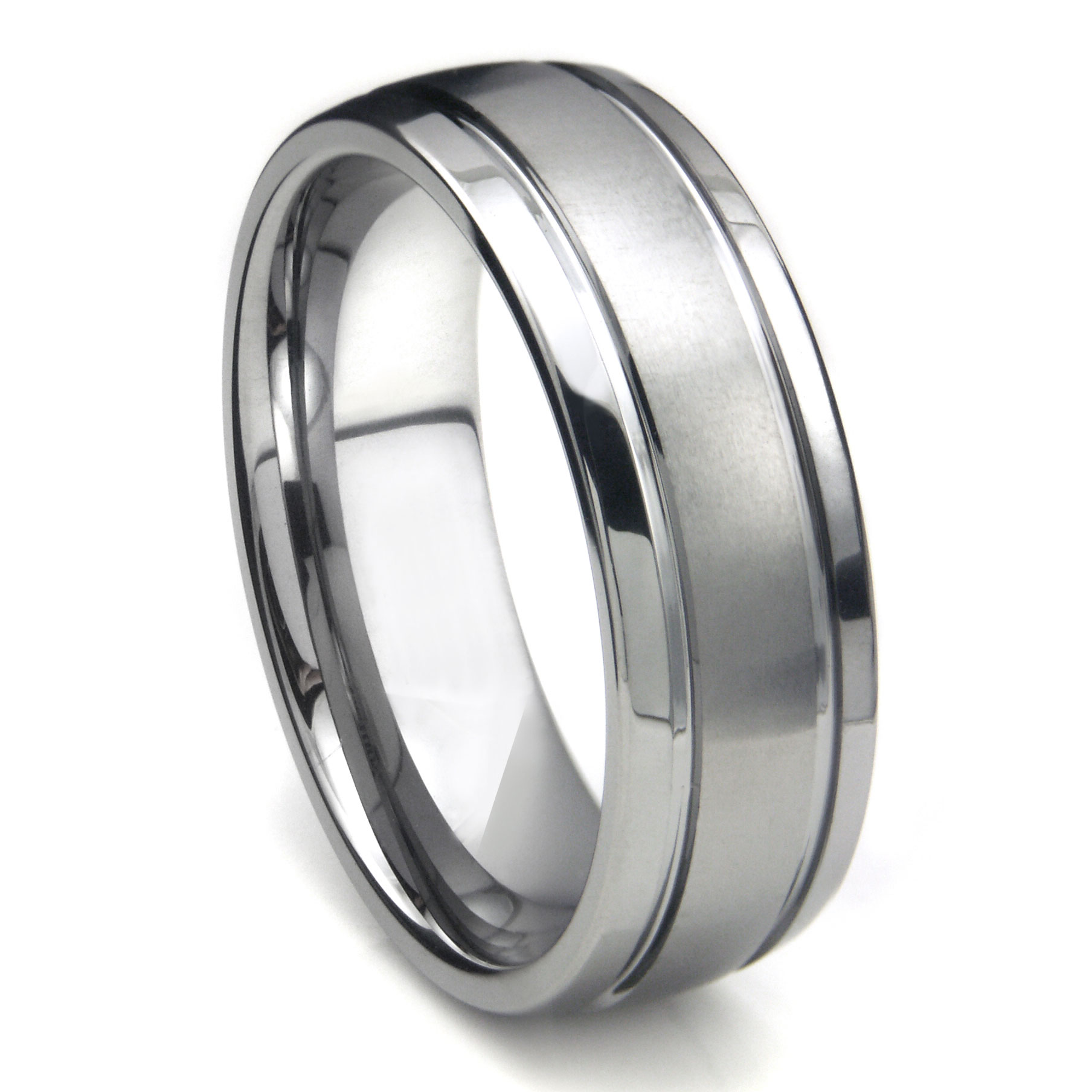 tungsten carbide newport double groove dome wedding band ring. Black Bedroom Furniture Sets. Home Design Ideas