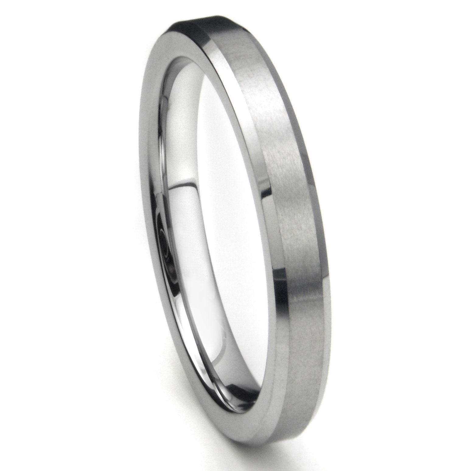 Tungsten Carbide 4mm Beveled Brush Finish Wedding Band Ring: Concave Brushed Wedding Band At Websimilar.org
