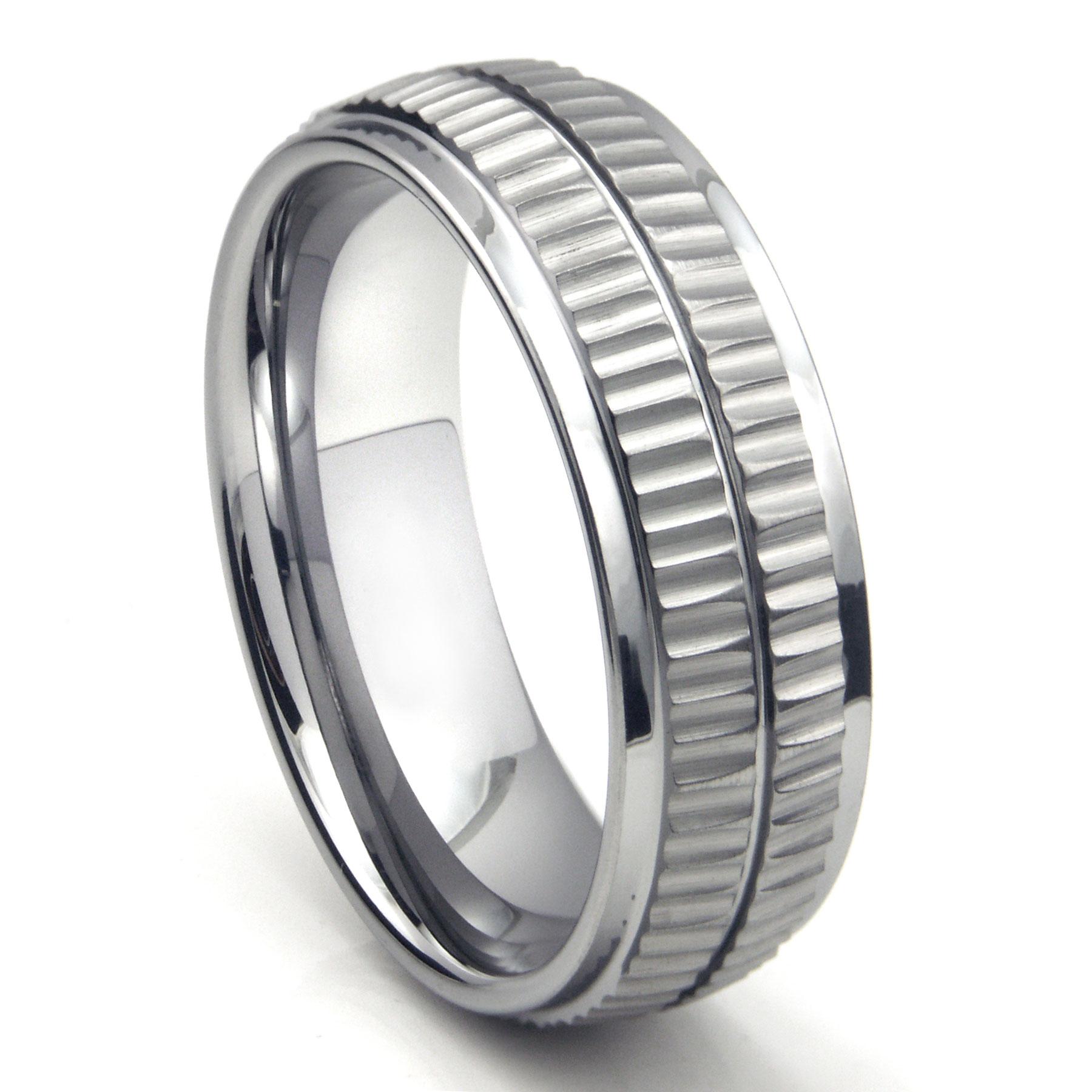 Tungsten Carbide Double Coin Edge Wedding Band Ring