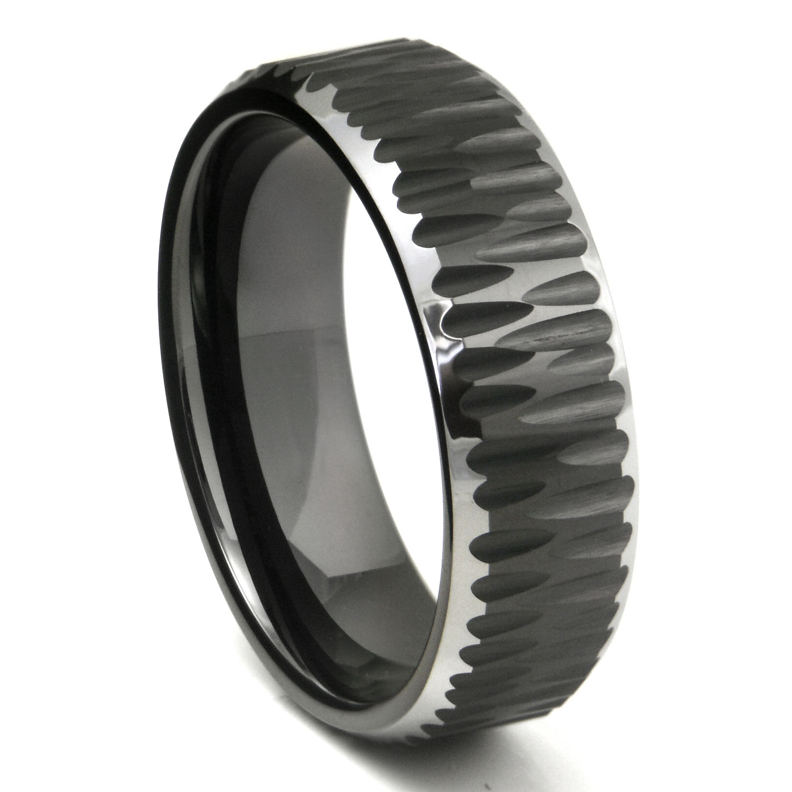 la bands edge bezel diamond wedding tungsten polished beveled brushed data black carbide band
