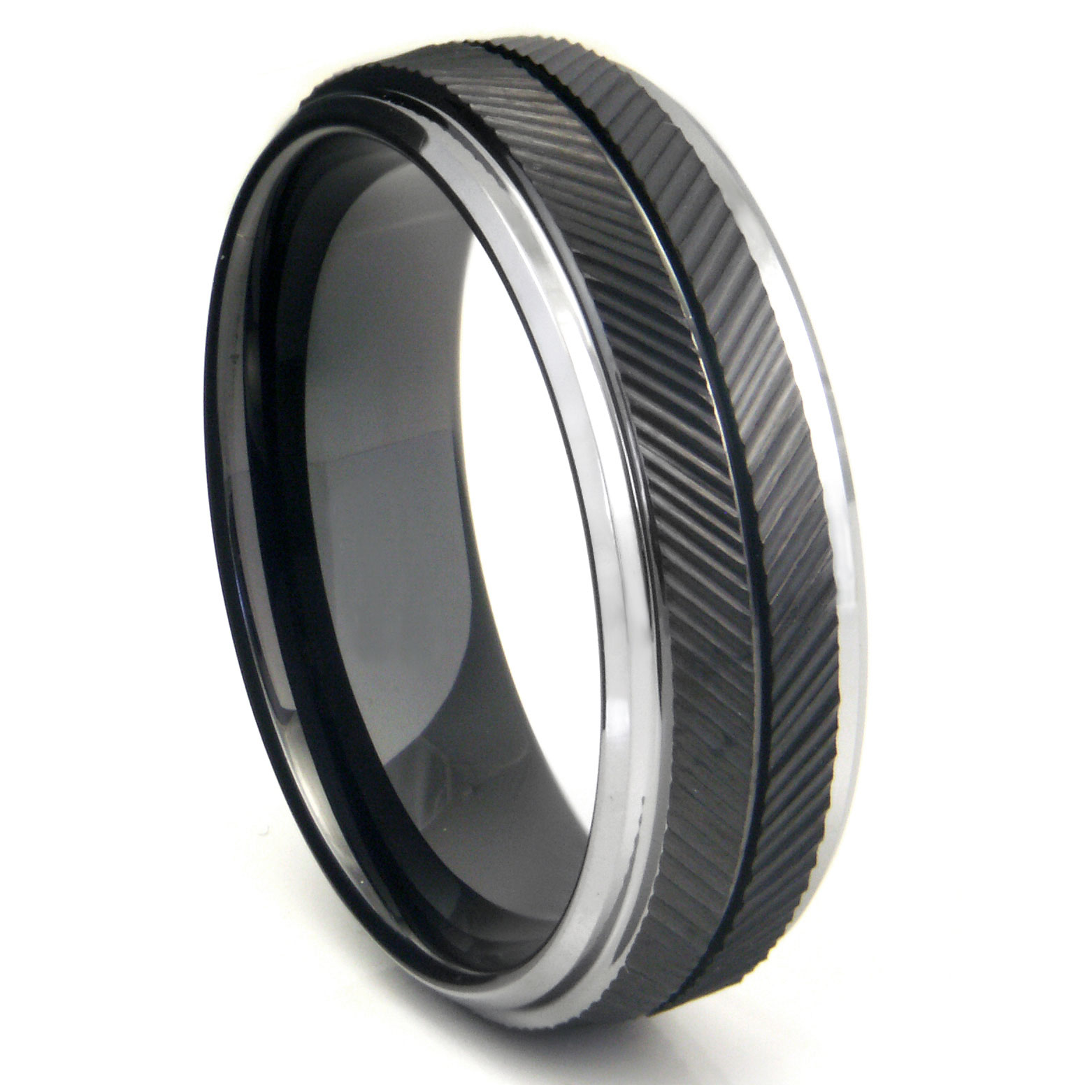 Tungsten Black Engagement Rings & Black Wedding Rings For those that want to be different, one of our hottest selling styles include our tungsten black wedding rings and black engagement rings. We carry both shiny polished black rings as well as brushed finish .