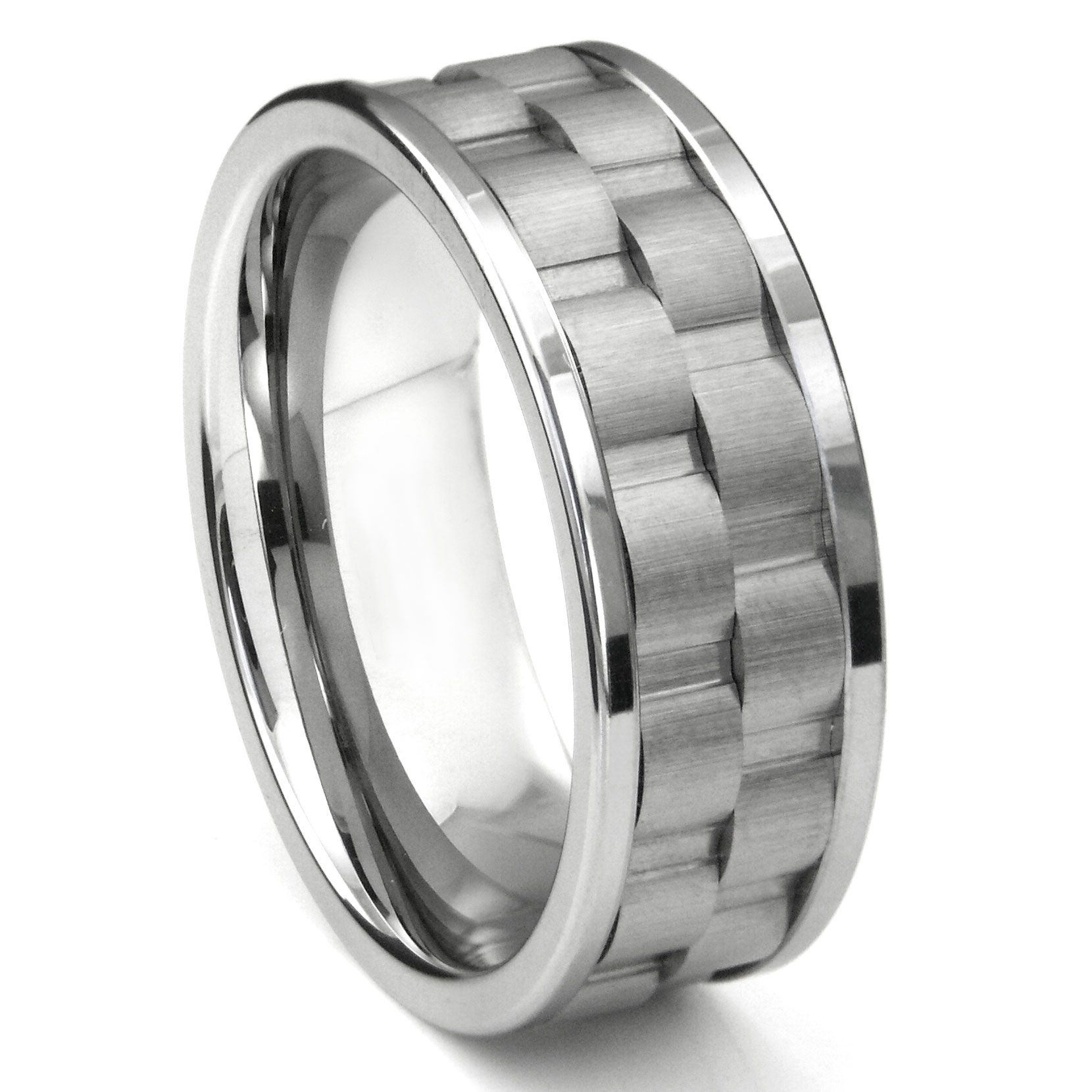 Wedding Band Ring Tungsten Carbide 8mm Brushed Dome Wedding Band Ring